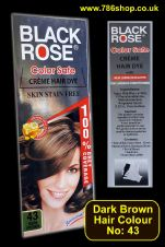 Hair Colour tube ( No: 43 Dark Brown ) By: Black Rose ( NEW ) Ammonia Free